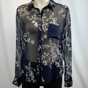 Chaser Navy Floral Sheer Silk Button Down Blouse